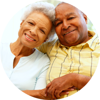 elderly man and woman smiling